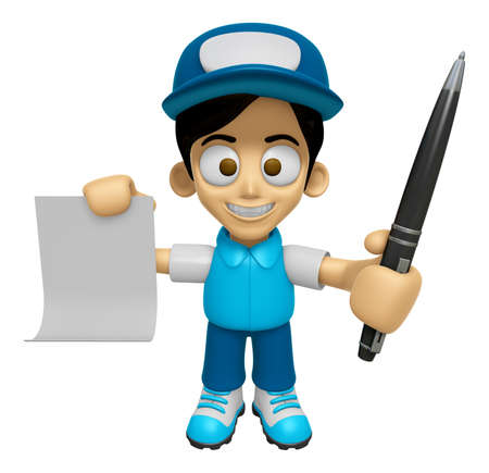 3D Delivery Service Man Mascot hand is holding a Document and ballpoint pen. Work and Job Character Design Series 2.