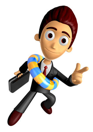 3D Business man Mascot Pointing fingers gesture of anger wearing a tube. Work and Job Character Design Series. Stock Photo