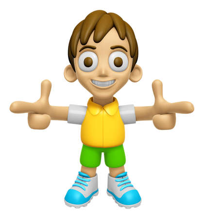 3D Child Mascot is points a finger one direction. Work and Job Character Design Series 2.