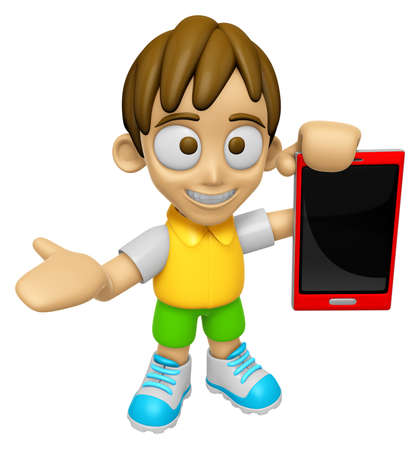3D Child Mascot the right hand guides and the left hand is holding a Smart Phone. Work and Job Character Design Series 2.