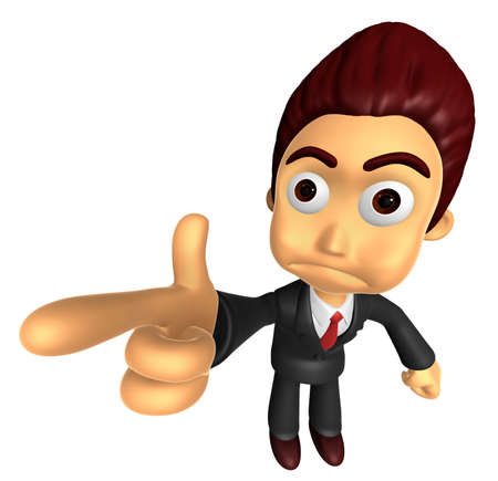 3D Business man Mascot point the finger of blame. Work and Job Character Design Series. Stock Photo