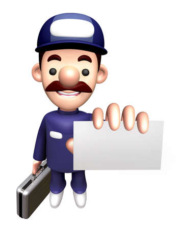 3D Repair Person Character is holding the Business card and Briefcase.