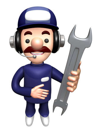 3D Repair Person Mascot is holding a Wrench.