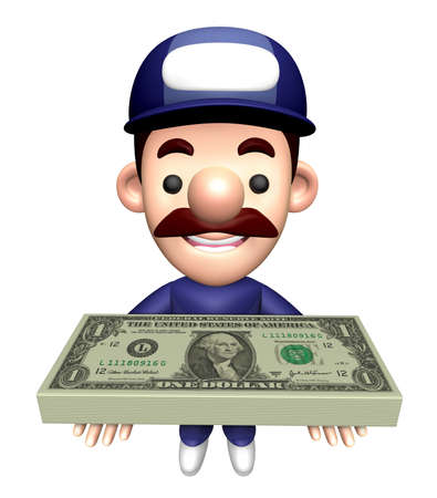 3D Engineer Character is holding a bunch of dollars.