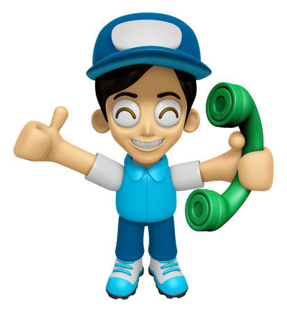 3D Delivery Service Man Mascot Please call me today. Work and Job Character Design Series 2. Stock Photo