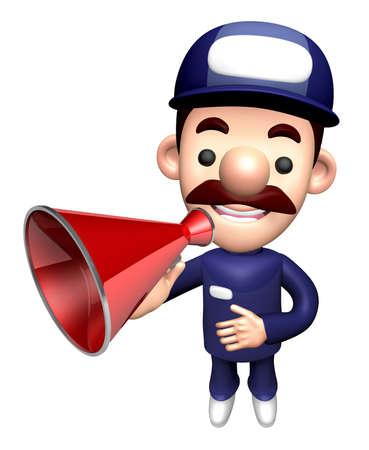 3D Technician Character Speak with a loudspeaker.