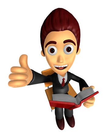 3D Business man Mascot the right hand best gesture and left hand is holding a book. Work and Job Character Design Series.