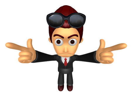 dissatisfaction: 3D Business man Mascot To point the finger at you with both hands. Work and Job Character Design Series.