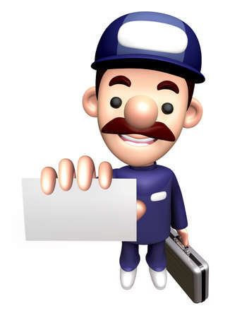 3D Service Character is holding the Business card and Briefcase. Stock Photo