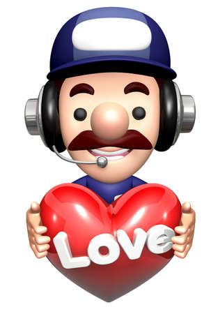 3D Engineer Mascot is holding a Heart.
