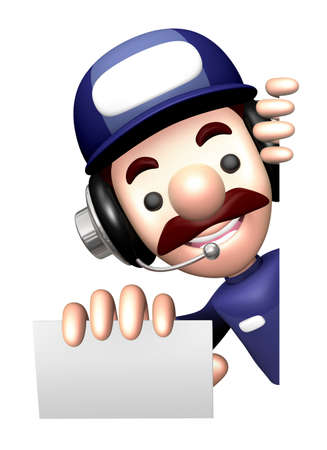 businesscard: 3D Repairman Mascot is holding a visiting card and Board.