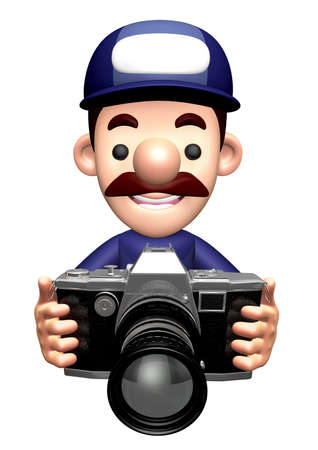 3D Specialist Character is holding a camera. Stock Photo