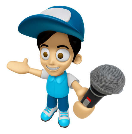 mankind: 3D Delivery Service Man Mascot the hand is holding a Microphone. Work and Job Character Design Series 2. Stock Photo