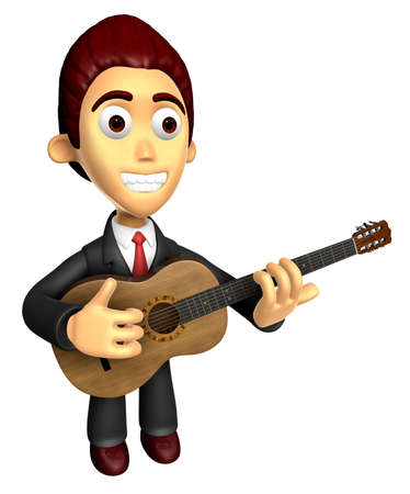 3D Business man Mascot playing the guitar. Work and Job Character Design Series. Stock Photo