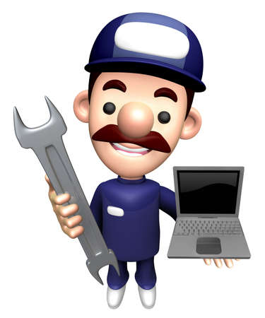 3D Engineer Character is holding the Spanner and Laptop.