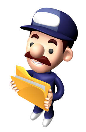 3D Engineer Character is holding the Folder.