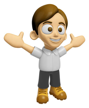 mankind: 3D Man Mascot is cheering hands spread wide. Work and Job Character Design Series 2. Stock Photo