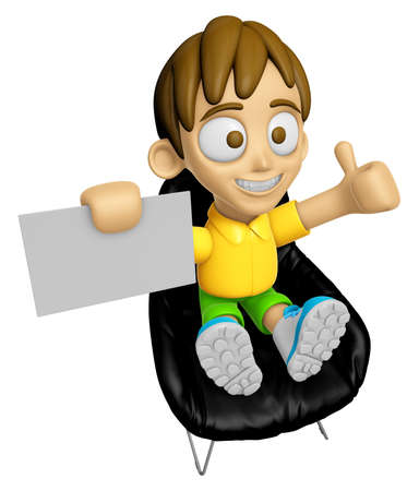 3D Child Mascot is sitting on a chair assume the gesture of the best. Work and Job Character Design Series 2.