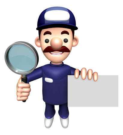 3D Service Character is holding the Magnifier and Business Card. Stock Photo