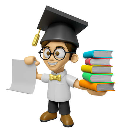 doctorate: 3D Scholar Man Mascot is holding a pile of books. Work and Job Character Design Series 2.