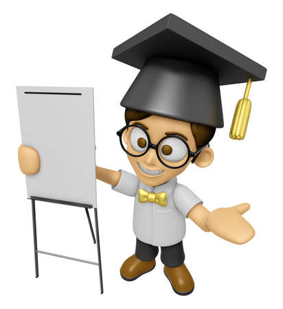 doctorate: 3D Scholar Man Mascot is concise explanation of a whiteboard. Work and Job Character Design Series 2.