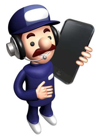 3D Technician Mascot Calling on smartphone.