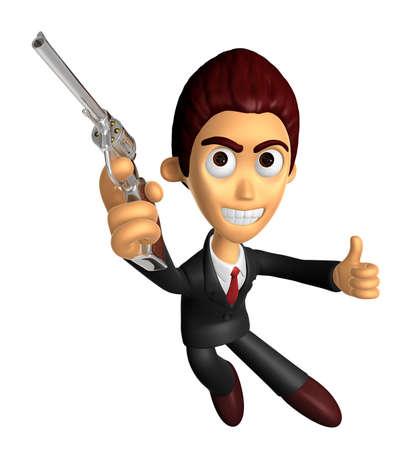 3D Business man Mascot fire an aimed shot a automatic pistol. Work and Job Character Design Series.
