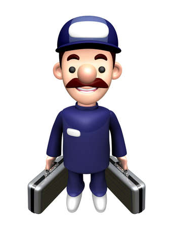 3D Repair Person Mascot holding a bag with both hands. Imagens