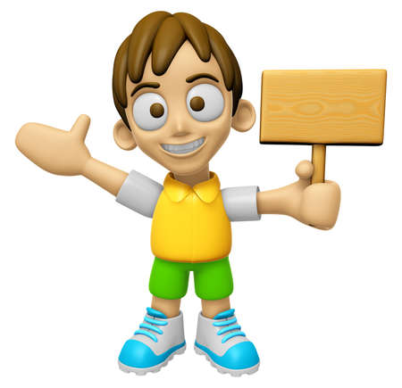 mankind: 3D Child Mascot the hand is holding a picket. Work and Job Character Design Series 2.