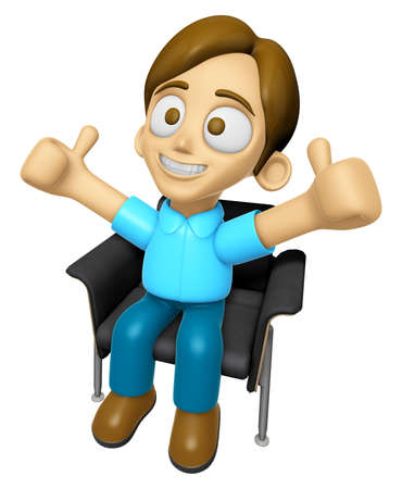 3D Man Mascot is sitting on a chair assume the gesture of the best. Work and Job Character Design Series 2. Stock Photo