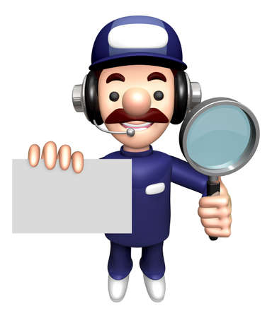 3D Specialist Mascot is holding the Magnifier and Business Card. Stock Photo