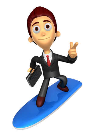 3D Business man Mascot dip surfboard ride on Pointing fingers gesture. Work and Job Character Design Series. Stock Photo
