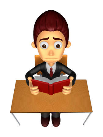 3D Business man Mascot read in one´s leisure hours. Work and Job Character Design Series. Stock Photo