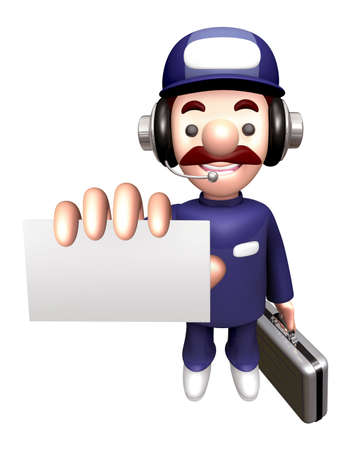 3D Engineer Mascot is holding the Business card and Briefcase. Stock Photo