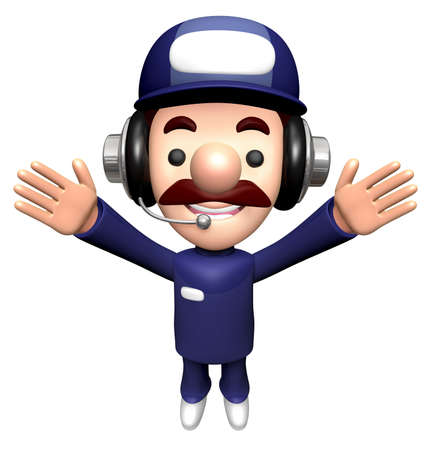 3D Engineer Character is holding a Spanner with both hands.