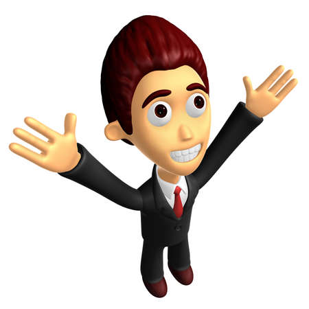 3D Business man mascot has been welcomed with both hands. Work and Job Character Design Series.