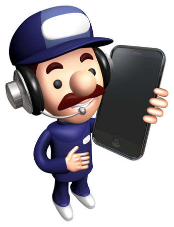 3D Service Mascot Calling on smartphone. Stock Photo