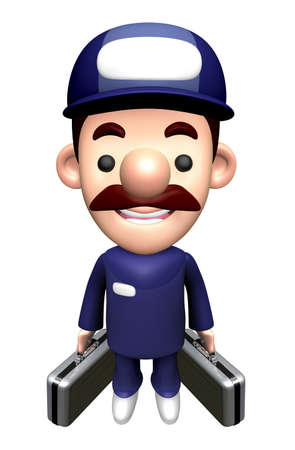 3D Technician Character holding a bag with both hands.