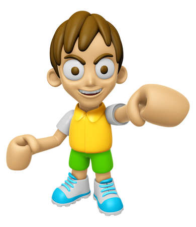 3D Child Mascot is the strike with ones fist. Work and Job Character Design Series 2.