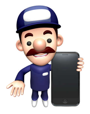 3D Mechanic Character is holding a Smartphone.