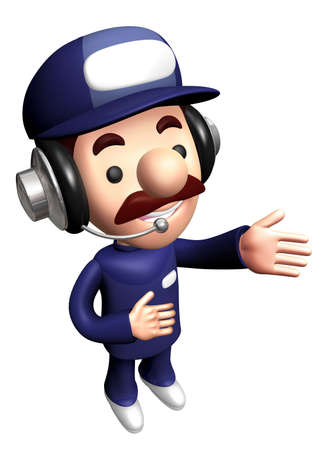 3D Repair Person Mascot is a guide gesture.