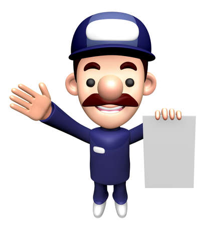 3D Repairman Character holding an order page. Stock Photo
