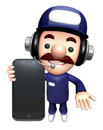 3D Repair Person Character is holding a Smartphone. Stock Photo