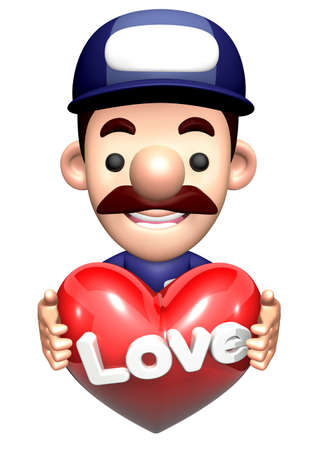 3D Repair Person Character is holding a Heart. Stock Photo