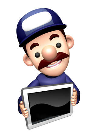 3D Mechanic Character is holding a monitor. Stock Photo