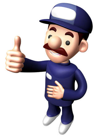3D Engineer Character is a Thumb up gesture.