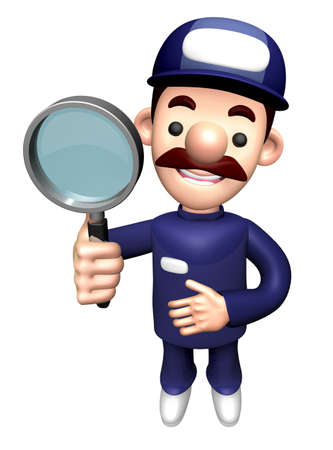 3D Repair Person Character is holding a Magnifying Glass.