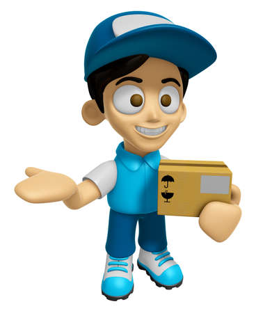 3D Delivery Service Man Mascot is Kindly courier holding the box. Work and Job Character Design Series 2. Stock Photo