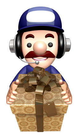 3D Engineer Mascot is holding the Gift Box. Stock Photo