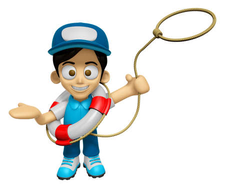 mankind: 3D Delivery Service Man Mascot is throwing a Life rope. Work and Job Character Design Series 2.